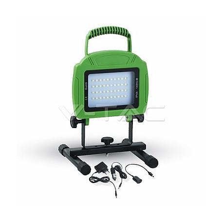 LED reflektory znovunabíjecí V-TAC 20W LED Rechargable Floodlight Green Body SMD White, VT-4822