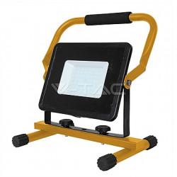 LED reflektor se stojanem V-TAC 50W LED SMD Slim Floodlight with Stand And EU Plug Black Body White, VT-4250