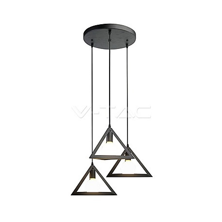Trio Geometric Black Pendant Light E27 With Black Canopy, VT-7144