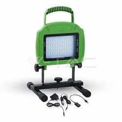 LED reflektory znovunabíjecí V-TAC 20W LED Rechargable Floodlight Green Body SMD White, VT-4822