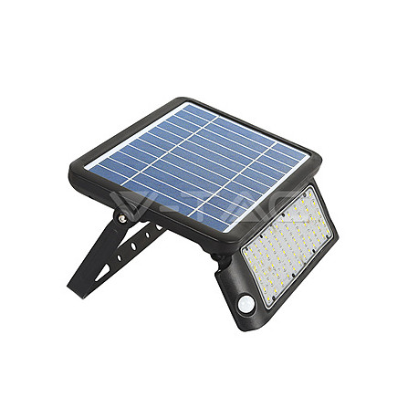 LED floodlight se solárním panelem V-TAC 0W LED Solar Floodlight Black Body 4000K, VT-787-10