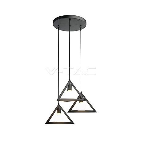 Trio Geometric Black Pendant Light E27 With Black Canopy, VT-7144