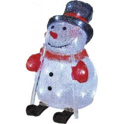 EMOS LED vánoční sněhulák, 24cm, venkovní, studená bílá, časovač